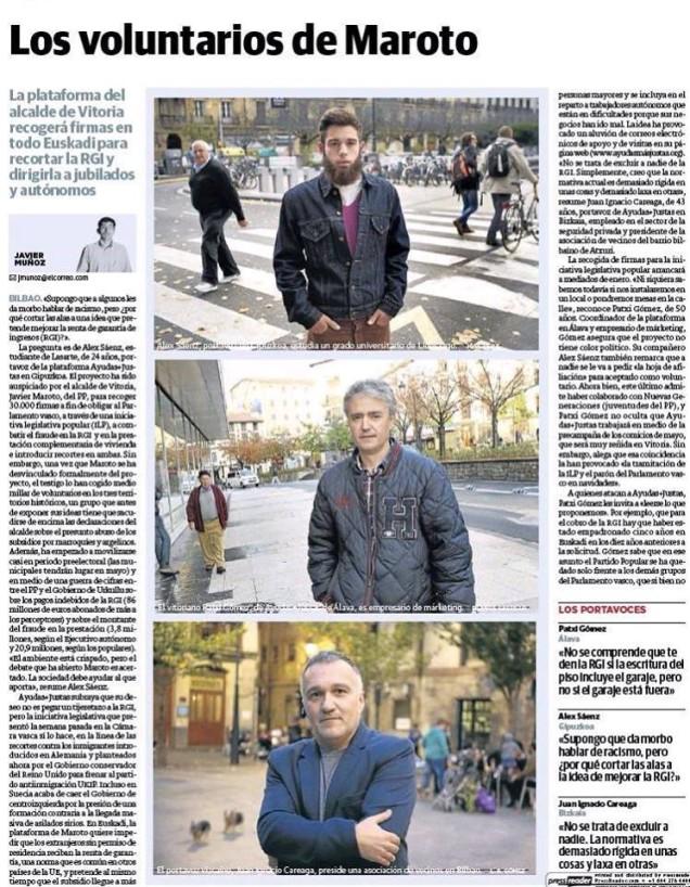 Extracto de la noticia a doble cara aparecida en El Correo el domingo 7 de Diciembre. Está extraído del Facebook de la plataforma.  http://www.elcorreo.com/bizkaia/sociedad/201412/07/voluntarios-maroto-20141206220824.html