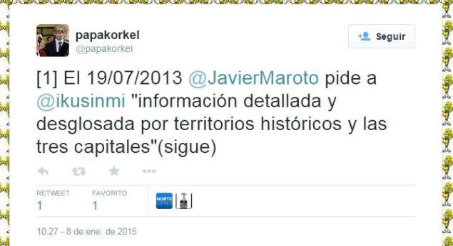 """El 19/07/2013 @javiermaroto pide a @Ikusinmi """"información detallada y desglosada por territorios históricos y las tre capitales"""