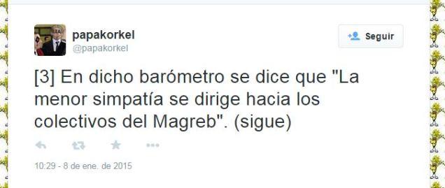 """En dicho barómetro se dice que """"La menor simpatía se dirige hacia los colectivos del Magreb"""""""