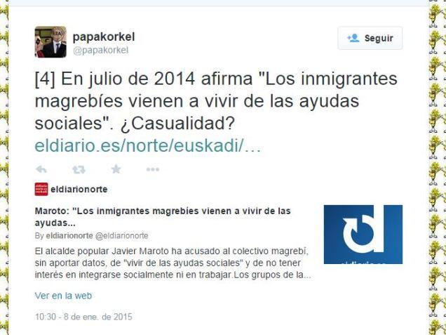 """En julio de 2014 afirma """"Los inmigrantes magrebíes vienen a vivir de las ayudas sociales"""". ¿Casualidad?"""